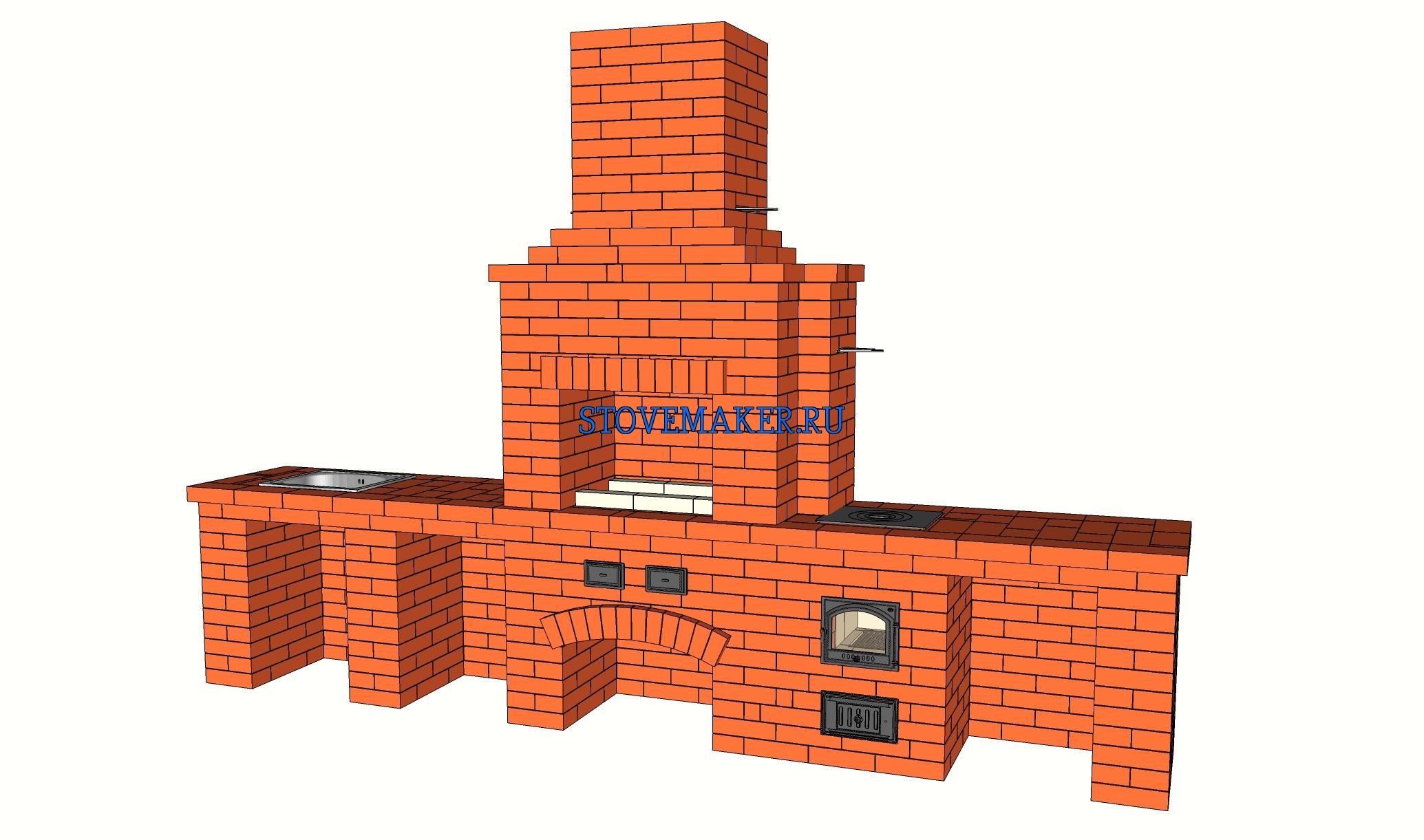 Проект барбекю с двухкомфорочной плитой отопительные дровяные печи камины