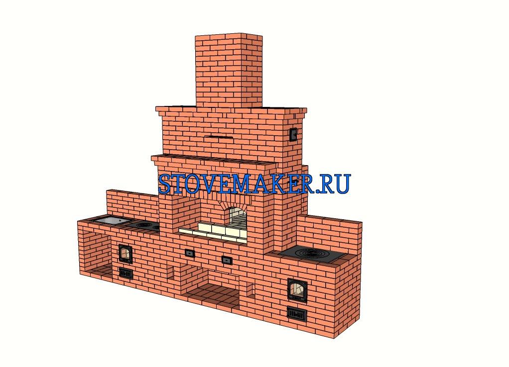 Проект барбекю с русской печью, казан 12 литров, казан 19 литров, столешницы, дровницы, мойка, двухконфорочная плита