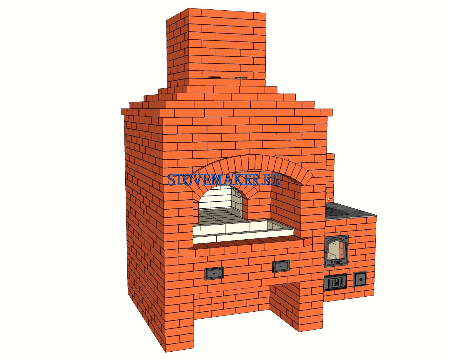 Проект барбекю с мангалом, русской печью, казан 12, 19 литров, самовар