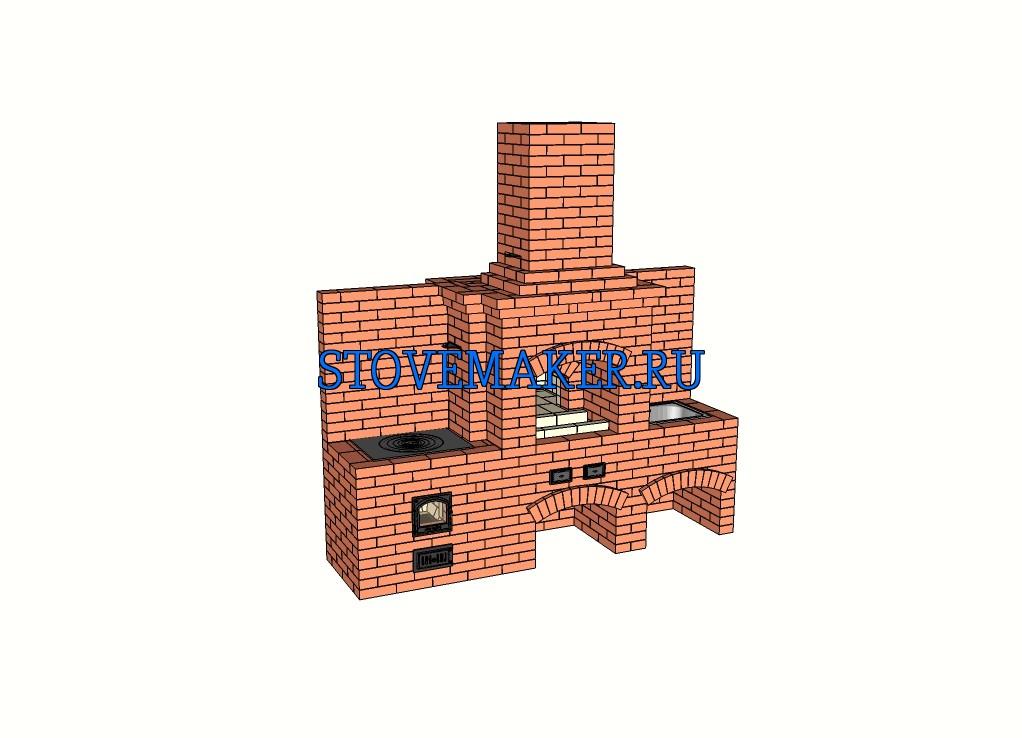 Проект барбекю - мангал, казан 12 литров, казан 19 литров, мойка и русская печь